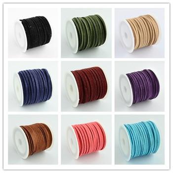 Продвижение 3 x 1.5 мм смешанный цвет искусственные замши шнура кожаный шнурок для ...
