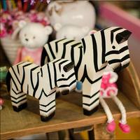 2pcs/set zakka Hand made Wood zebra office home decoration gift Photography props  A412