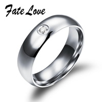Simple Brand Design 316L Stainless Steel Party Finger Crystal Round Rings for Woman Silver Ring High Quality 447