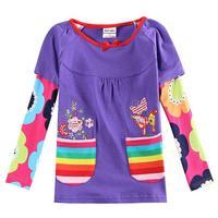 Wholesale Children Clothes Children Girls T-shirt Girls Tunic Floral Sleeve Shirt Fashion Girl's Shirts Cotton Kids Wear
