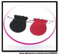 7x9cm black and red Velvet Gift Pouch/Jewelry Bag Fabric cloth sack packaging bag Free shipping