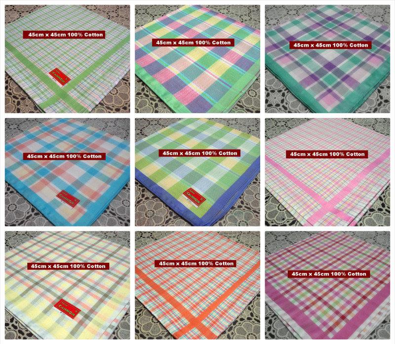6 pieces / half dozen large size 45cm x 45cm checks pattern colorful 100% cotton handkerchiefs(China (Mainland))