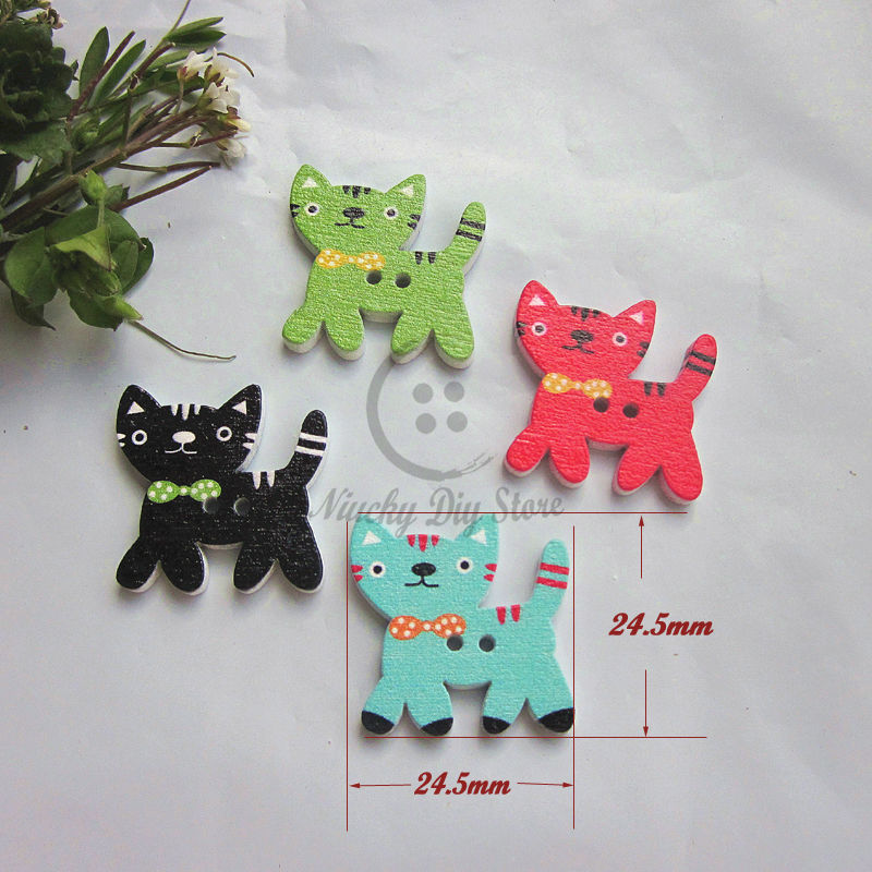 Cat series 60pcs mixed colorful cat buttons wooden scrapbooking buttons animal cartoon wood decorative accessories wholesale(China (Mainland))
