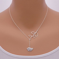 Fashion Bird Leaf Shape Pendant Necklace(1 Pc) #01678892