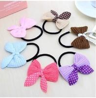 Lovely knitting wool  bow headband rabbit ear hair rope hair band female 8060al