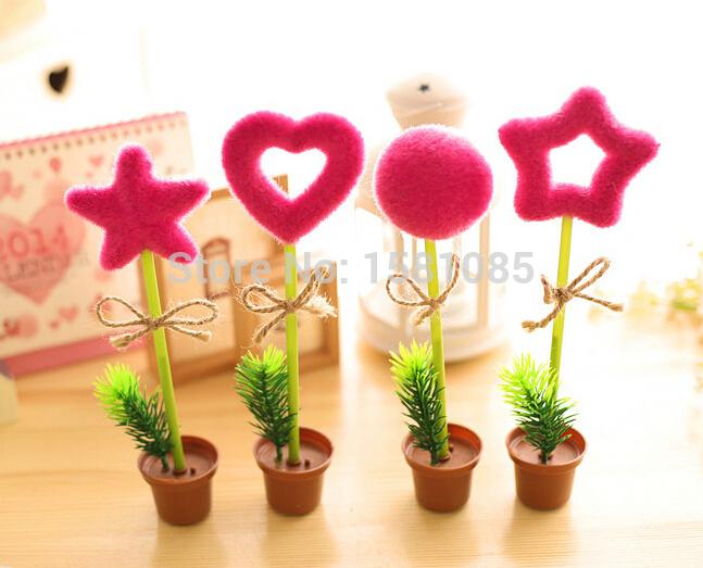 4PCS/LOT Rustic green artificial plant pen gustless ballpoint pen cute pen children gift pen(China (Mainland))
