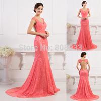 Elegant Cap Sleeve Trailing Satin+Lace Evening Dresses 2015 Wedding Party Dress Maxi Backless Long Mermaid Prom Dresses CL7510