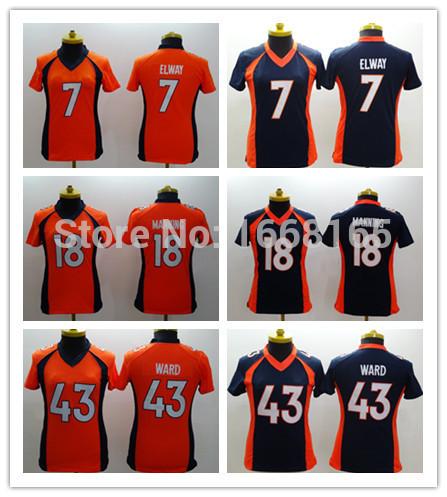 Free Shipping Denver #7 John Elway,#18 Peyton Manning,#43 T.J. Ward Women's American Football Jersey Authentic Embroidery Logos(China (Mainland))