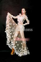 lady flower petals paillette sparkling personalized wedding  dress Perspective costume party Singer costume