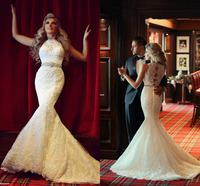 Robe De Mariage Mermaid Lace Wedding Dress Custom Made Vestidos De Novia Celebrity Sweep Train Bridal Gowns New 2015 Hot Sale