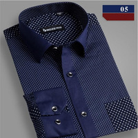 2015 Winter Men Plus Size Casual Dress Social Shirts Cotton  Full Roupas Camisetas Masculinas Camisa Polka Dot Men Shirt