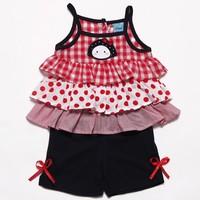 Fashion Girl Clothes Children Girls Set Clothing Set Plaid Layered Cartoon Allo lugh Kid's Slip Dress+Shorts Children Summer Set
