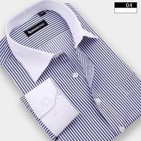 2015 Winter Men Plus Size Striped Shirt Men's Casual Dress Cotton Patchwork Full Shirt  Roupas Camisetas Masculinas Camisa