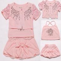 Pink Girl's Set Three Pieces Children Girls Set Summer Set Girl's Outfit 2015 Fashion Children Clothes 3-5Y Vestidos Meninas