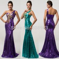 Vestidos De Fiesta Sexy One Shoulder Open Back Satin+Sequin Appliques Mermaid Long Evening Dresses 2015 Prom Party Gowns CL7545