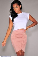 Summer Saias Rodadas Black/Pink/Green Draped Pencil Knee Length Asymmetrical Skirt Midi Women Clothing Saia Feminino LC71071