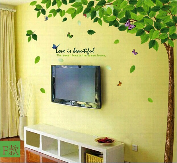 Large green tree living room bedroom wallpaper diy wall for Diy family tree wall mural