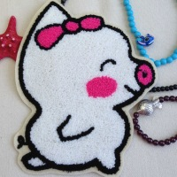 10 pcs/lot Diy pig embroidered towel Large embroidery fabric  decoration stickers clothes patch decoration stickers