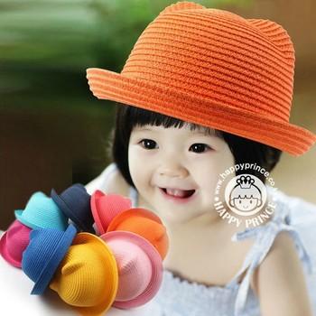 2015 летние шапки детские кошки ухо украшения соломенные шляпы прекрасный ребенок девушки и мальчики флоппи вс Hat твердые дети флоппи-бич Cap