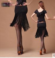 Latin dance short skirt long tassel   classic Latin dance skirt Latin dance skirt black ballroom dance skirt