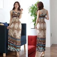 2015 Sleeveless tank dress Women Chiffon Summer beach Dress Ladies pattern Printed Bohemian Long Beach Dresses