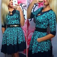 2015 New fashion Women print elegant Dresses half sleeve patchwork dress O neck print dress pockets vintage print dress S/M/L/XL