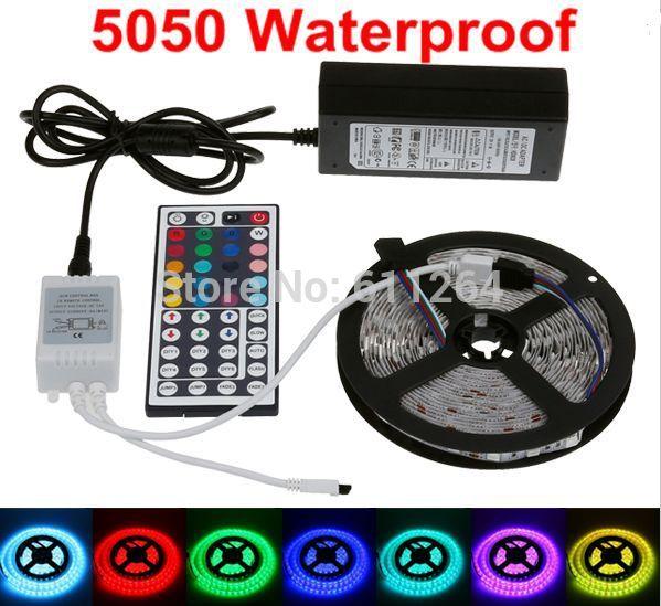 Waterproof RGB Led Strip 5050 Flexible LED Light 5M 300leds SMD+44 Key IR Remote Controller + 12V 5A Power Adapter EU/US/UK/AU(China (Mainland))