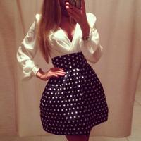 2015 new fashion women sexy dresses long sleeve v-neck dot tunic empire high waist dress patchwork casual dress vestidos