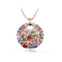 Multi-color Swiss CZ stone Paved Round Pendant Necklace Vintage Antique Pendant Necklaces Bohemian