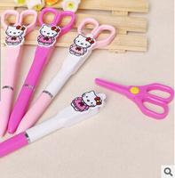 Fashionable 12pcs/lot Black Refill Scissor Gel Pen Cartoon Hellokity Gel-Ink Pen Stationery Office/School Supplies #GP293