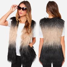 2015 fashion autumn winter ladies elegant jacket women faux fur coat women fur vest sleeveless gradient casual outwear plus size(China (Mainland))