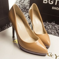 Korean Spell Color Leather Tip Waterproof Fine With Ultra High Opening Single Shoes High-heeled Shoes