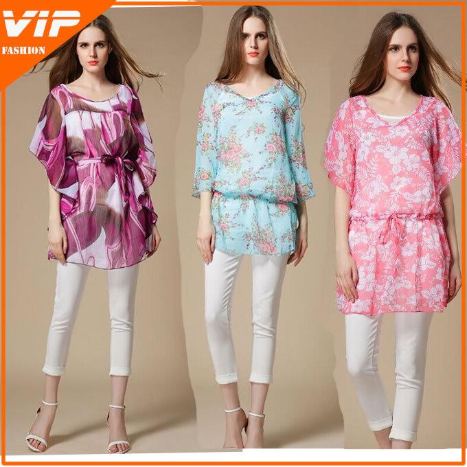 2015 Summer Women's Blouse Bat Sleeve Printing Belt Fashion Chiffon Unlined Upper Garment Casual Women Shirt Tops(China (Mainland))
