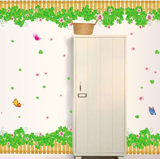 Green Grass Corner Clean Bottom 200*50cm Wall Sticker PVC Home Decoration Vinyl Removable DIY AY7056(China (Mainland))