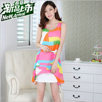 New Arrival 2015 Fashion Summer Dress Casual Women Chiffon Mini Dress vestidos de fiesta Two-piece dress Plus Size