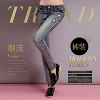 Promotion New Arrival 2014 women's light color personalized elastic women's skinny jeans pants for Woman