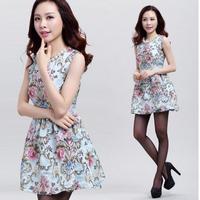 2015 spring and autumn print dress slim ol elegant autumn one-piece dress women's basic puff