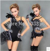 new women Fashion one-piece black dress female singer ds lead dancer clothing dj sexy jazz dance performance wear bodysuit