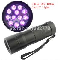 10pcs/lot 12 led UV LED  395nm -400nm Ultra Violet Blacklight Flashlight Torch Light Lamp 3x AAA battery not include