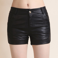 2015 fashion autumn winter female leather pants water wash PU shorts casual boot cut jeans women's pants
