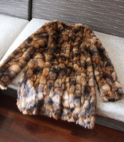 Fashion decoration color block fur coat