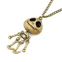 Antique Copper Vintage Skeleton Man Necklace(Random Color) #00427075