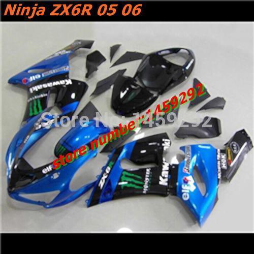 Motocycle Covers fairing kit KAWASAKI Ninja ZX6R 05 06 ABS Parts ZX6R 2005 2006 blue-black(China (Mainland))