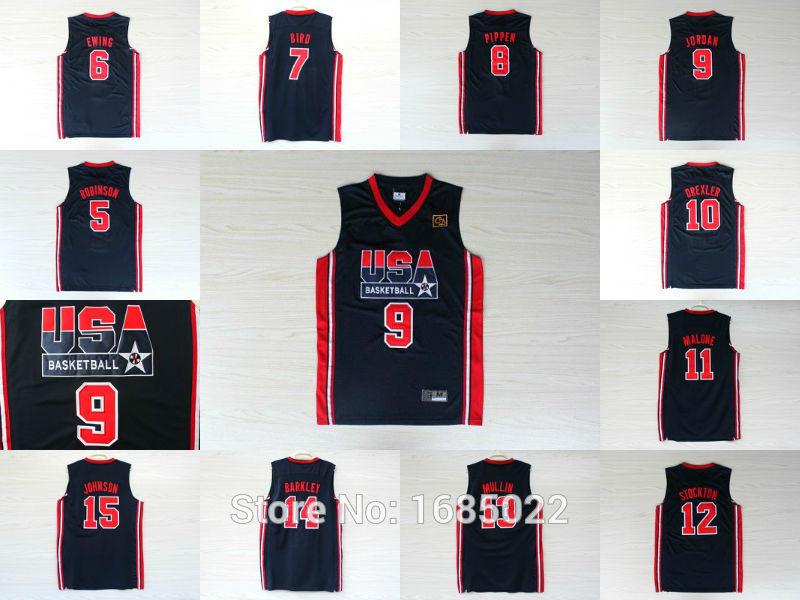 1992 USA Olympic Games Dream Team Jerseys, 7 Bird 8 Pippen 9 jordan 11 Malone 12 stockton Best quality basketball Jersey(China (Mainland))