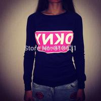 2014 New women fashion New york letter print pullovers long sleeve sweatshirt hoody sportwear Casual s m l