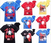 5Pieces/lot New 2015 Big Hero 6 T Shirt Boys Girls Top T-Shirt For Kids Summer Cartoon 4 Colors Children Cute Clothes DA614