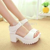 2015 women's summer shoes gauze open toe sandals platform shoes female thick heel platform high heels female sandals