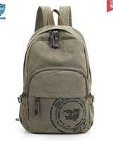 Trendy backpack canvas bag; male and female backpack recreation bag bag computer bag large capacity