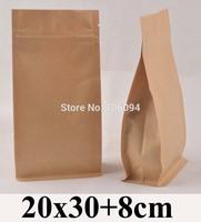 20*30+8cm Flat bottom stand up ziplock kraft bag  7.9''*11.8'' bellow zipper kraft bag coffee tea nut kraft paper bag,60pcs/lot