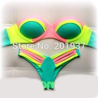 2015 Sexy Women's Push Up Bikini Swimwear Patchwork Swimsuit Thong Bathing Suit Biquinis Women
